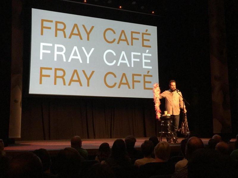 If your personal story goes over 5 minutes at #fraycafe, you get the boa of shame. #xoxofest