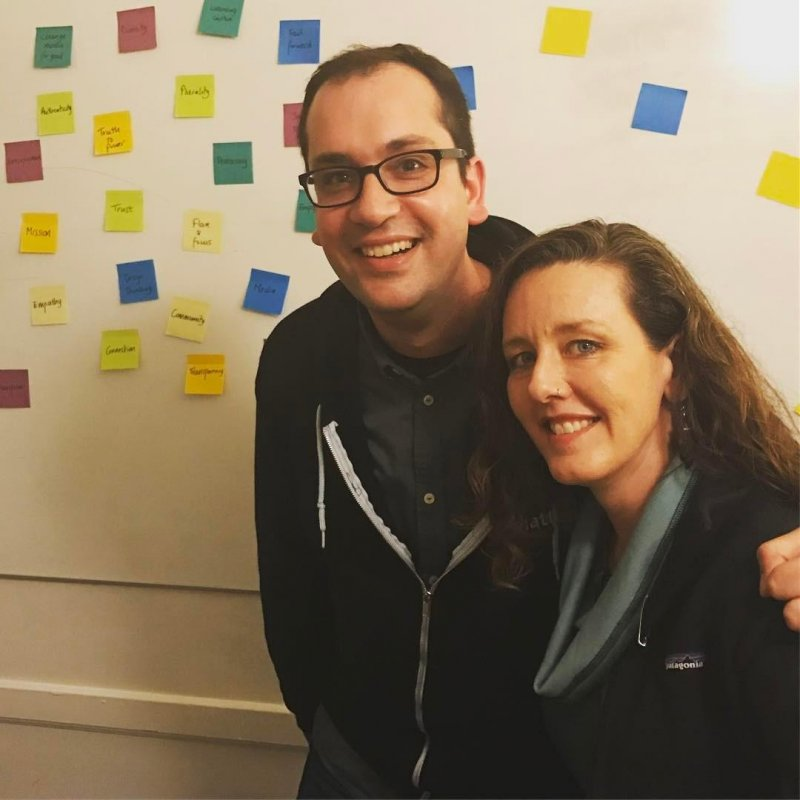 @sdepolo and I hanging out by the Post-Its at Homebrew Website Club. #indieweb