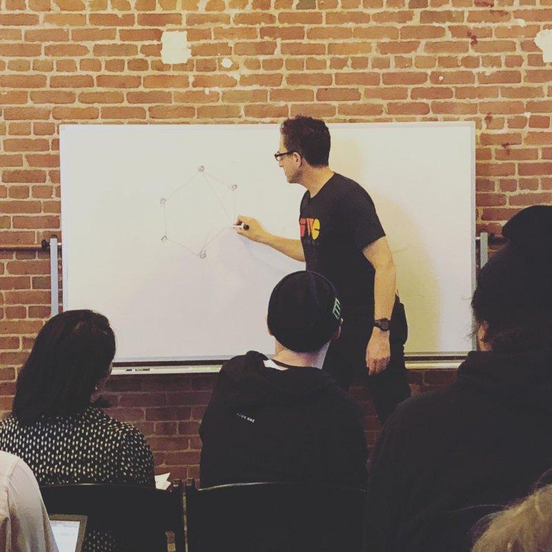 Tantek Çelik whiteboarding the web we wanted at #dwebsummit